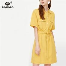 купить ROHOPO Solid Preppy Chic Woman Yellow Cotton Dress Top Pocket Buttons Fly Bow Belted Flared Hem Vestido #8098 по цене 1058.38 рублей