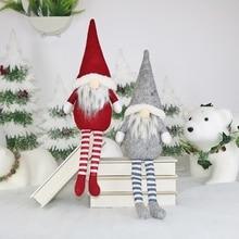 Delicate Cute Long Legs Faceless Santa Claus Doll Sitting Pose Christmas Decoration Festive Party Supplies