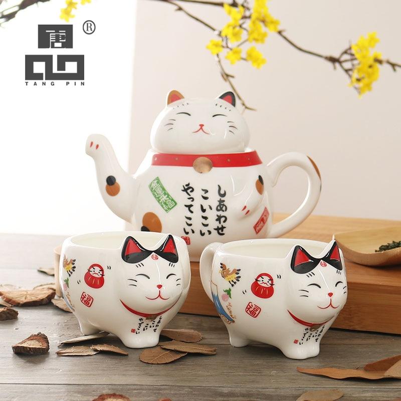 Tangpin 귀여운 행운의 고양이 도자기 차 세트 크리 에이 티브 maneki 네코 세라믹 차 컵 냄비와 스트레이너 사랑스러운 plutus 고양이 주전자