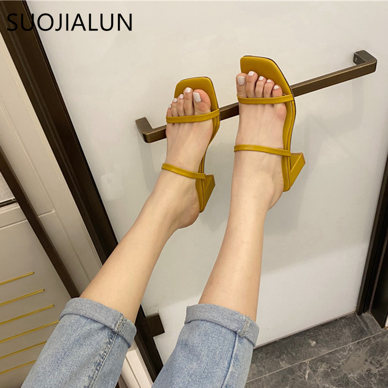 SUOJIALUN New Summer Slippers High Square Heel Slides Female Peep Toe Narrow Band Vacation Beach Sandal Flip Flops Zapatos Mujer