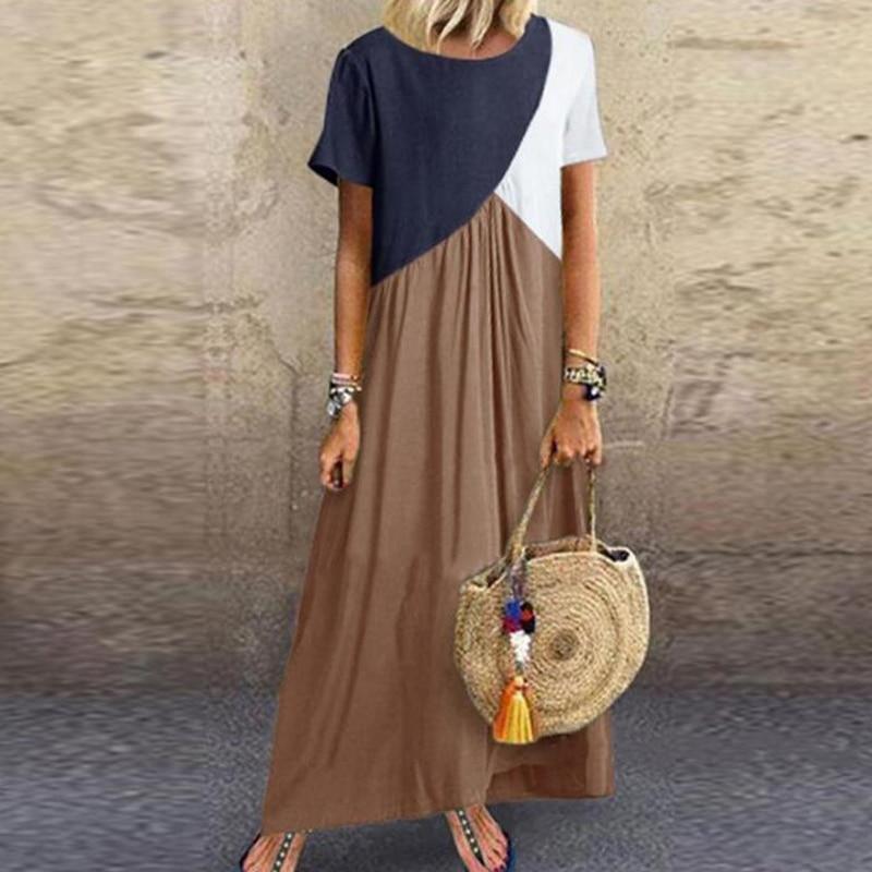 2019 Women Dresses Long Maxi Dresses for Women Vestidos Casual Dress Beach Patchwork Color Loose Casual Plus Size Dress