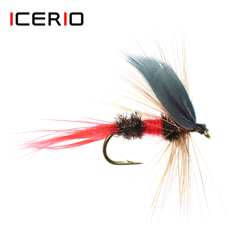 ICERIO 5PCS Grau Flügel Trocken Nass Fliegen Royal Coachman Trout Fishing Fly Lure Köder #10