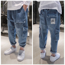 Boys Loose Pants Spring Denim Trousers for Children Korean Toddler Baby Clothes Teenage Jeans Cargo Pants 2 5 8 10 12 14Years