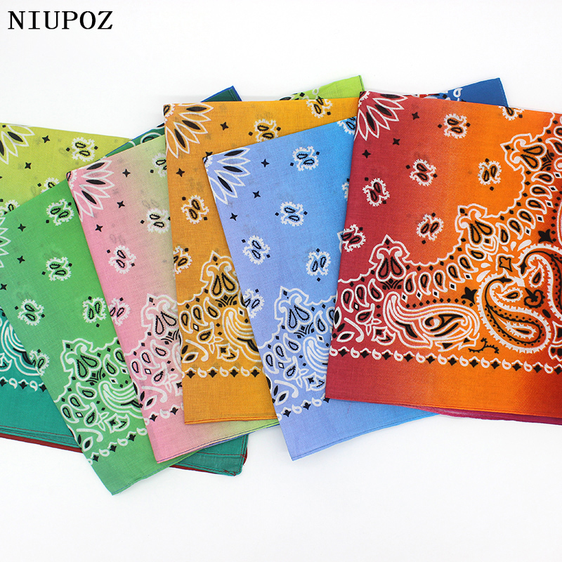 2019 New Fashion Hip Hop 100% Cotton Bandana Square Scarf Gradient Color Paisley Headband Printed For Women/Men/Boys/Girls