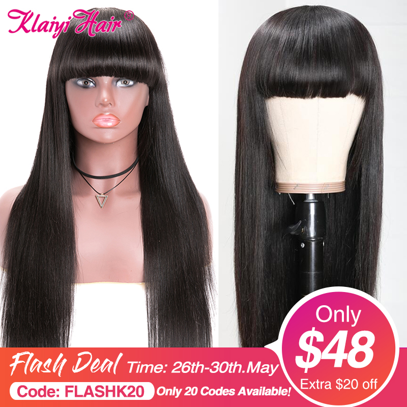 Klaiyi Hair Straight Hair Wigs With Bang 12-24 Inch Glueless Long Brazilian Remy Human Hair Wigs Full Machine Made Natural Color