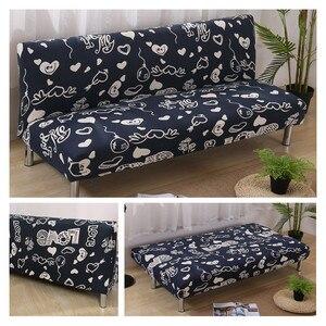 Image 3 - Funda de sofá de LICRA con estampado de corazón para sala de estar, Protector para muebles, seccionales, sin reposabrazos, color negro