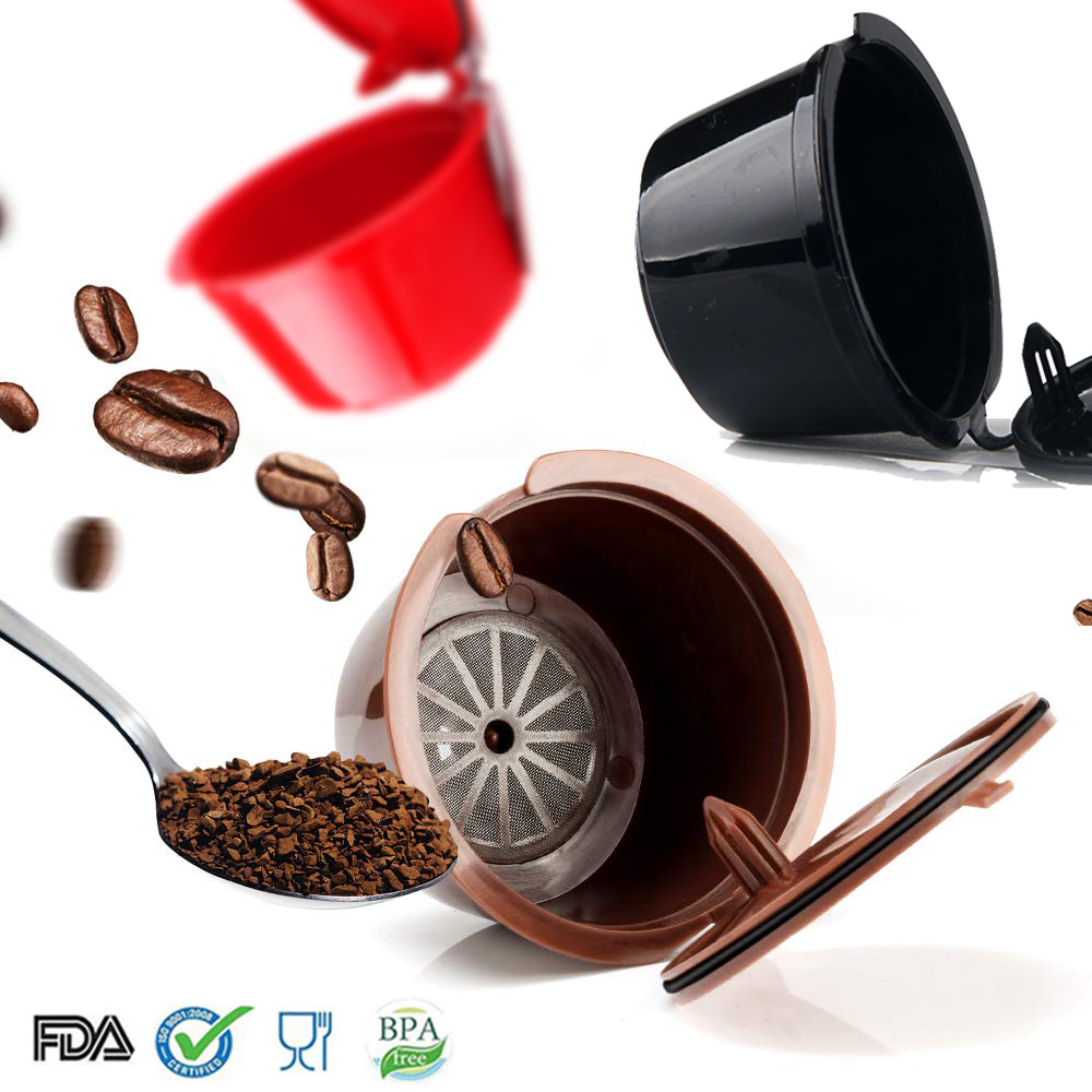 3pcs/pack Dolce Gusto Plsatic Refillable Coffee Capsule Reusabl Capsul Spoon Brush Reusable Compatible Coffee Filters Coffeeware
