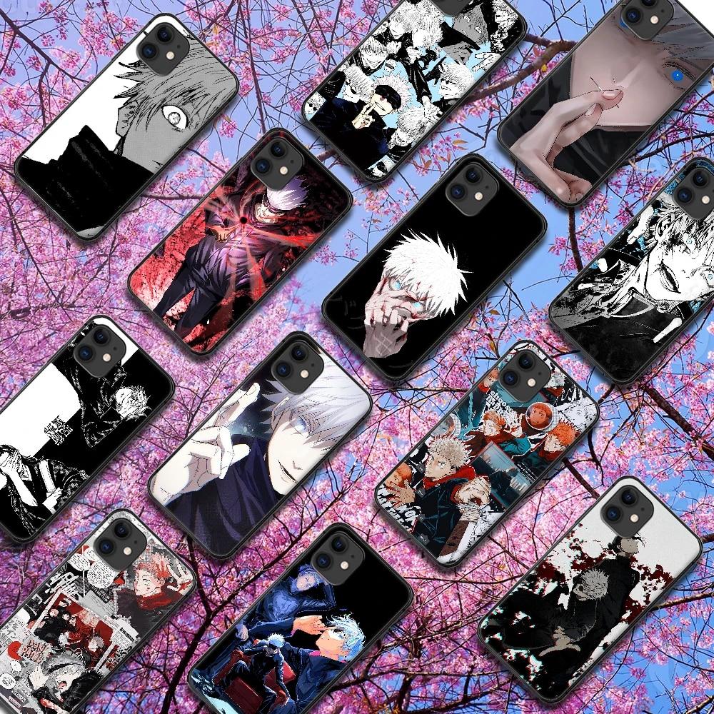 Jujutsu Kaisen Gojo Satoru Anime Phone Case For IPhone 4 4s 5 5S SE 5C 6 6S 7 8 Plus X XS XR 11 12 Mini Pro Max 2020 black Coque