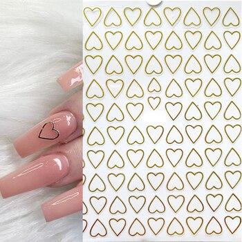 1pcs heart cute nail stickers designer self-Adhesive Ultra-thin Hollow nail art 3d decal gel nail strips nail embellishments