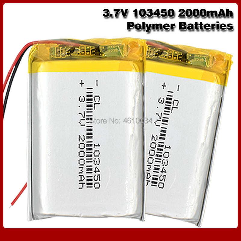103450 <font><b>3.7V</b></font> <font><b>2000MAH</b></font> <font><b>lipo</b></font> polymer lithium rechargeable <font><b>battery</b></font> for MP3 GPS navigator DVD recorder headset e-book camera image