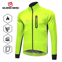 QUESHARK Winter Autumn Warm Long Sleeve Cycling Jacket Windproof Men Thermal Bicycle Coat Fleece Breathable Bike Clothes