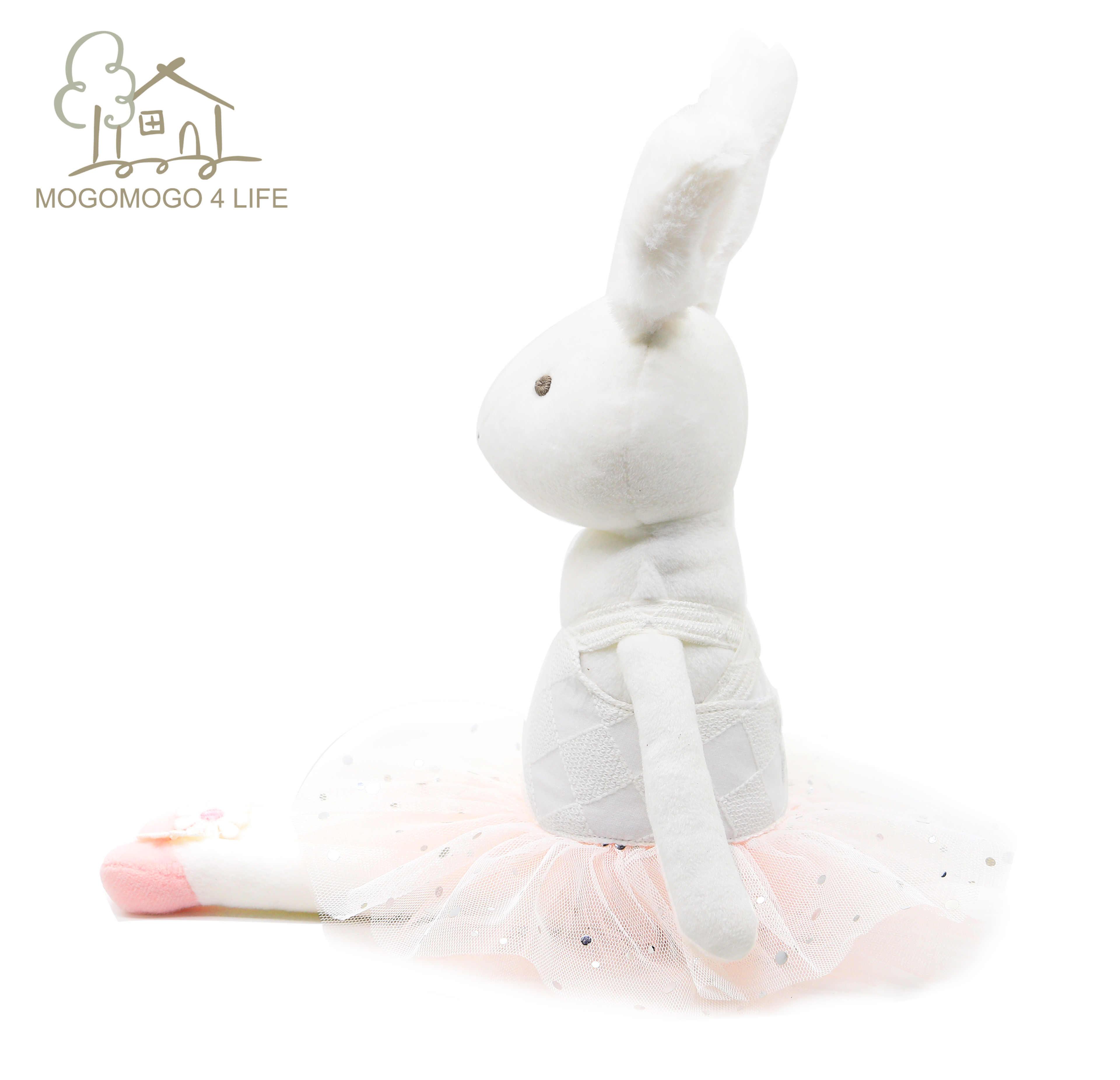 Luksusowy biały gruby króliczek pluszowy z różowym Tutu dziecko sen przytulić zabawki piękny Snuggly baleriny lalka króliczek księżniczka lalka króliczek