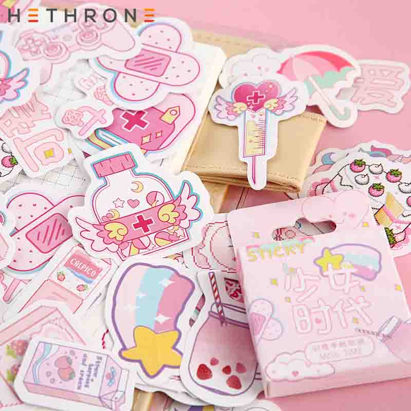 Hethrone Creative Cute Cartoon Miss Time Transparent Paper Hand Account Sticker Package DIY Diary Stickers Cup Decorative Materi