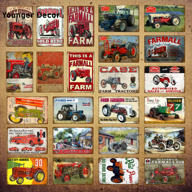 Винтажные грузовики, металлический постер, фермерская ферма, тракторы, металлические жестяные знаки, Ford сельское хозяйство, настенная живо...