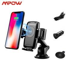 Mpow CA096 soporte universal de teléfono para coche montaje Qi inalámbrico rápido cargador para iPhone X 8/Plus Samsung S9 S8 Nota 8 Qi habilitado teléfonos