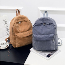 OEAK Women Backpack Preppy Style School Bags Soft Fabric Travel Backpack Corduroy Bookbag Teenage Girls Striped Small Backpack