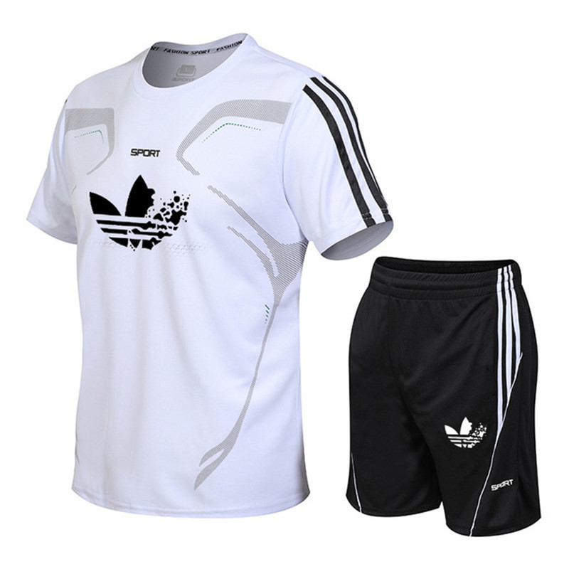 Tshirt Men Tracksuits Shorts-Sets Brand Clothing Summer Male Casual New Letter Print