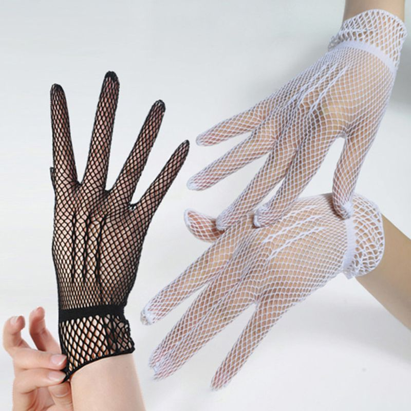 Women Bridal Sexy Hollow Out Fishnet Full Fingered Gloves Wrist Length Elastic Solid Color Sunscreen Mittens Wedding Party