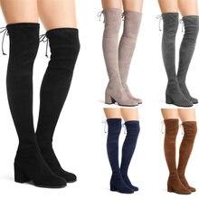 Новинка; Модные женские сапоги с круглым носком; замшевые до