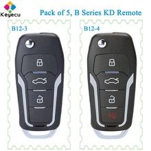KEYECU 5 Pieces KEYDIY for Ford Style Universal B Series KD Remote Car Key B12 3 B12 4 Supported By KD900 KD900+ URG200 KD X2