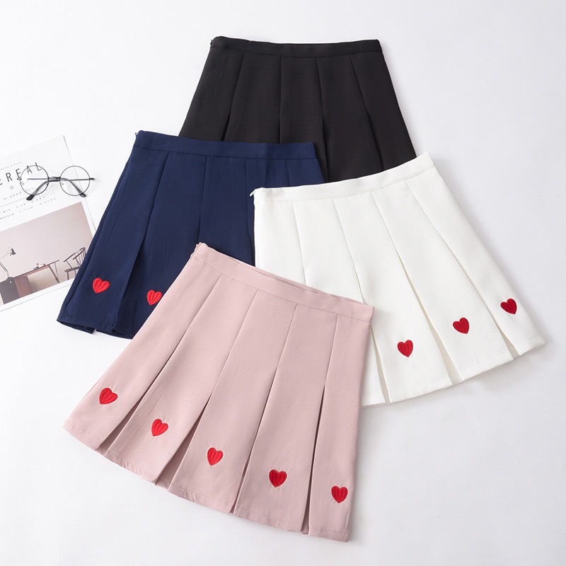 Love Embroidered Sweet High Waist Skirt 2020 New Spring Summer Harajuku Soft Sister Plus Size Pleated Skirt