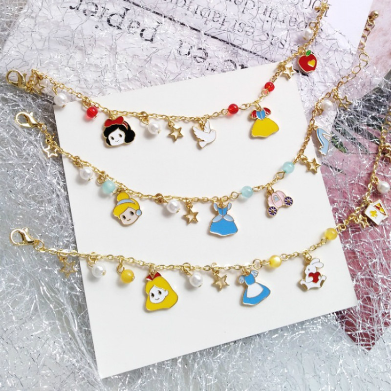 Disney's New Doll Bracelet Students Daily Wear Jewelry Cartoon Frozen Princess Sweet Dream Girl Fairy Bracelet Accessories