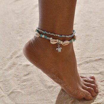 Turtle Shell Starfish Pendant Anklets Women Stone Beads Shell Anklet Bohemian Bracelets On Leg Beach Ocean Jewelry Drop Shipping 3