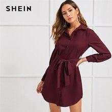 שיין מעוקל Hem כפתור מול חגור חולצה שמלת נשים סתיו Loose מוצק ארוך שרוול ישר קצר מקרית שמלות