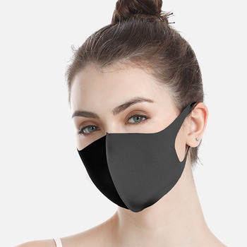 Black Mouth Mask Breathable Unisex dust-proof Sponge Face Masks Reusable Anti Pollution Shield Wind Proof Mouth Cover washable