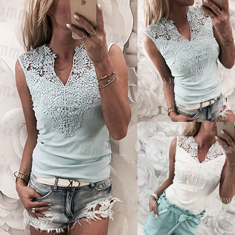 New Women Summer Lace Solid Sleeveless Blouse Casual Tank  With V Neck Hollow Back Shirt Regular Size
