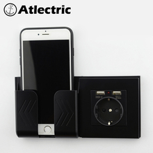 Atlectric 2A Dual USB Port Socket Wall Charger USB Socket 16A EU Russia France Outlet Power Socket Wall Adapter Charging coswall crystal glass panel dual usb charging port 2 1a wall charger adapter 16a eu socket power outlet white black gold red
