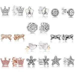 Original Bow Enchanted Crown With Crystal Studs Earring 925 Sterling Silver Earrings For Women Wedding Gift Europe Jewelry