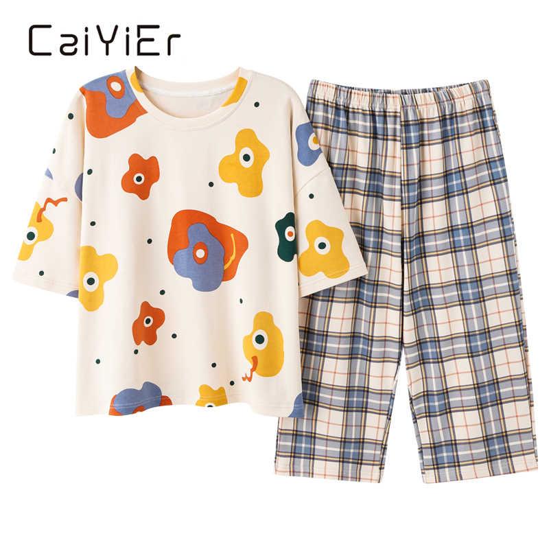 CAIYIER Новинка лета, Хлопковая женская пижама с коротким рукавом, набор, плюс размер, Повседневная футболка с короткими рукавами, одежда для сна, пижамы для девочек мягкий силиконовый чехол с рисунком из мультфильма; Одежда для сна; Домашняя одежда; M-5XL