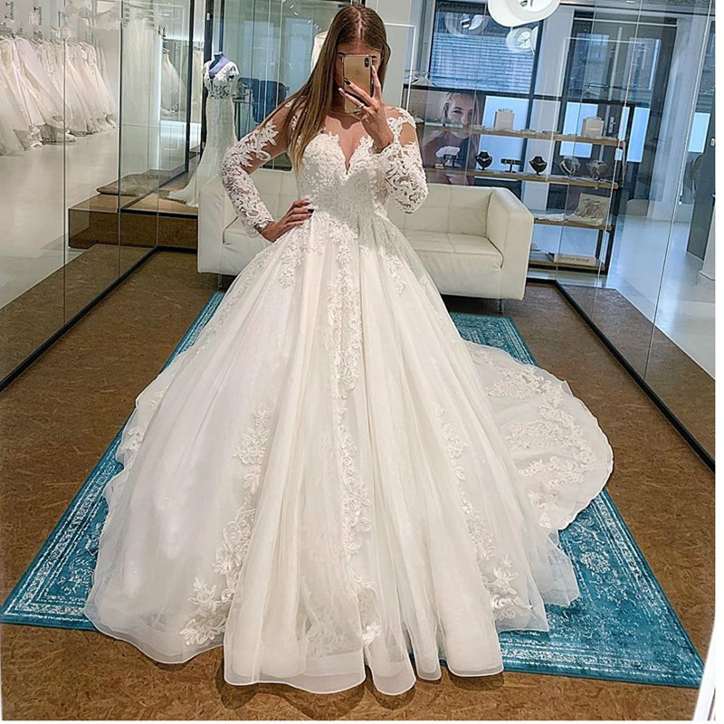 Vestido De Noiva Elegant Luxury Ball Gown Wedding Dresses Long Sleeves Appliques Ruched Skirt Illusion Wedding Gowns 2020
