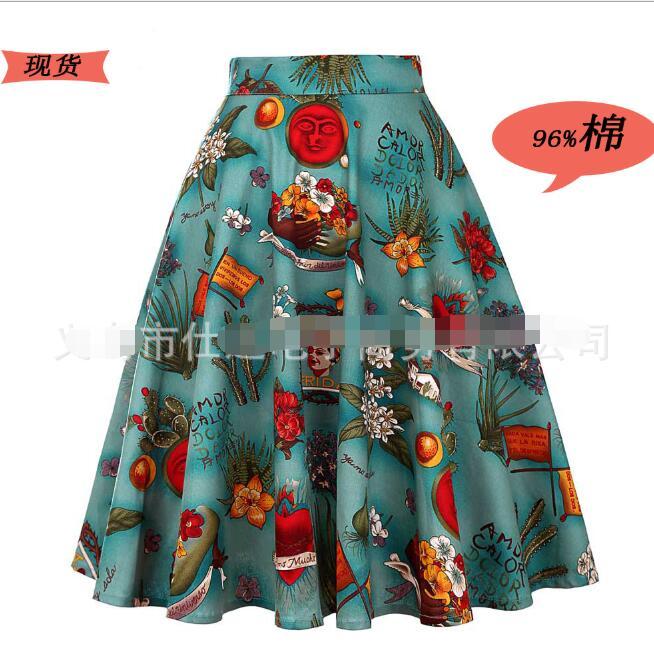 Retro Long Maxi Skirts Women Floral Print Pleated High Waist Pinup Saia Vintage 50s Rockabilly Christmas Skirt