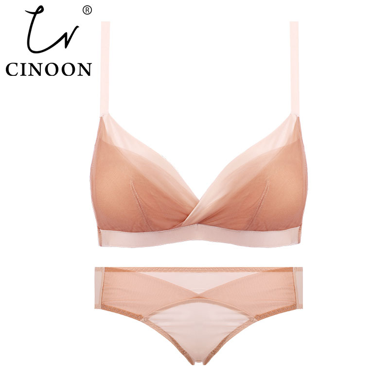 Hollow Sexy   Bra   Ultrathin Underwear   Set   Plus Size AB Cup Women Transparent   Bra     Sets   Lace Embroidery Lingerie Brassiere Intimates