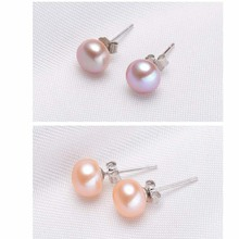 Genuine Natural Pearl Stud Earrings For Women 100% Silver Fashion Freshwater Earring Jewelry Gift for
