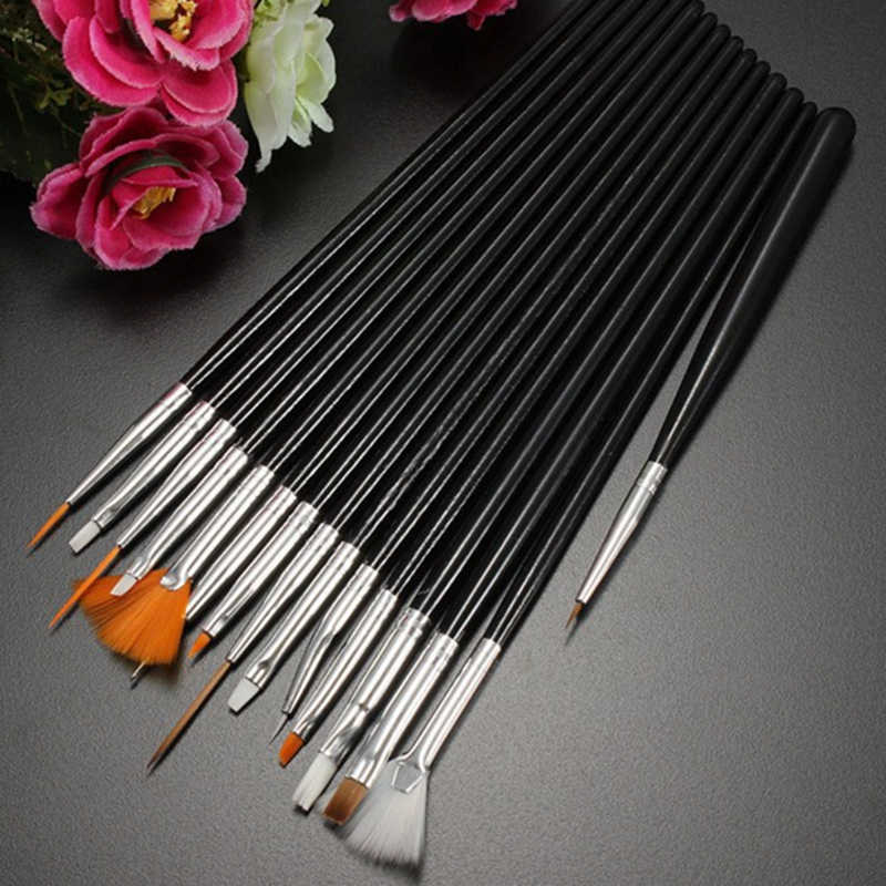 15 adet Profesyonel UV Jel Akrilik Tırnak resim fırçası Seti tasarım jeli Lehçe Boyama cetvel kalemi Manikür Çivi İpuçları Araçları Yeni Kiti