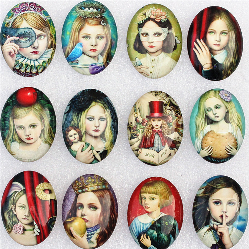 30x40mm Random Mixed Fashion Retro Girl Oval Glass Cabochon Flatback Photo Base Tray Blank DIY Making Accessories 5pcs K02125