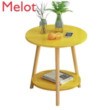 Fashion Luxury European-Style Double-Layer Living Room Mini Storage Sofa Table Modern Simple Solid Color Storage Round Table