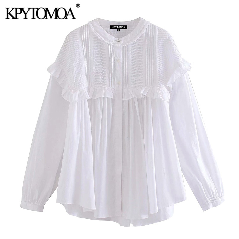 KPYTOMOA Women 2020 Sweet Fashion Ruffled White Blouses Vintage O Neck Long Sleeve Female Shirts Blusas Mujer Chic Tops