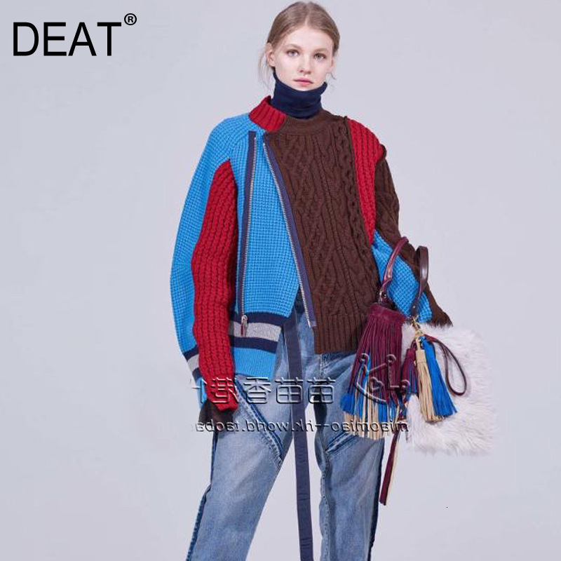 DEAT 2019 Autumn Winter New  Fashion Trend Clothing Long-sleeved Solid Long Sleeve Irregular Stitching Sweater WI320