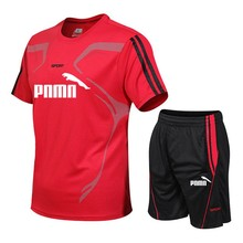 New Casual Male Brand Tracksuit Clothing Men Sets Fitness Sporting Suits Short Sleeve T Shirt + Shorts Quick Drying 2 Piece Set