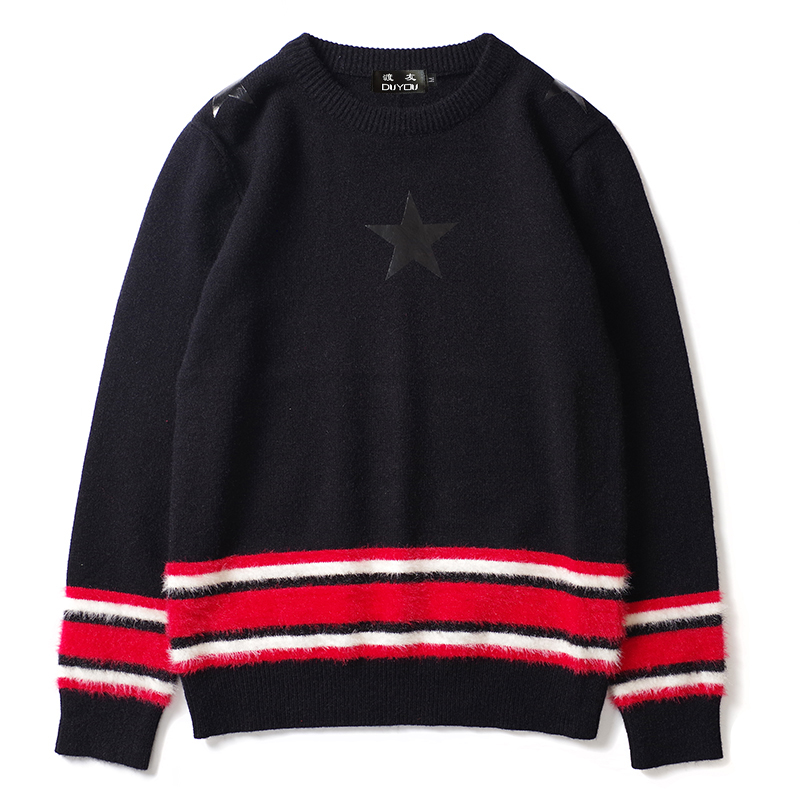 DUYOU Mens Stripe Star Print Sweaters Casual Pullover Knitted Jumper Sweater 2019 New Knitwear Sweaters Male Hip Hop Streetwear