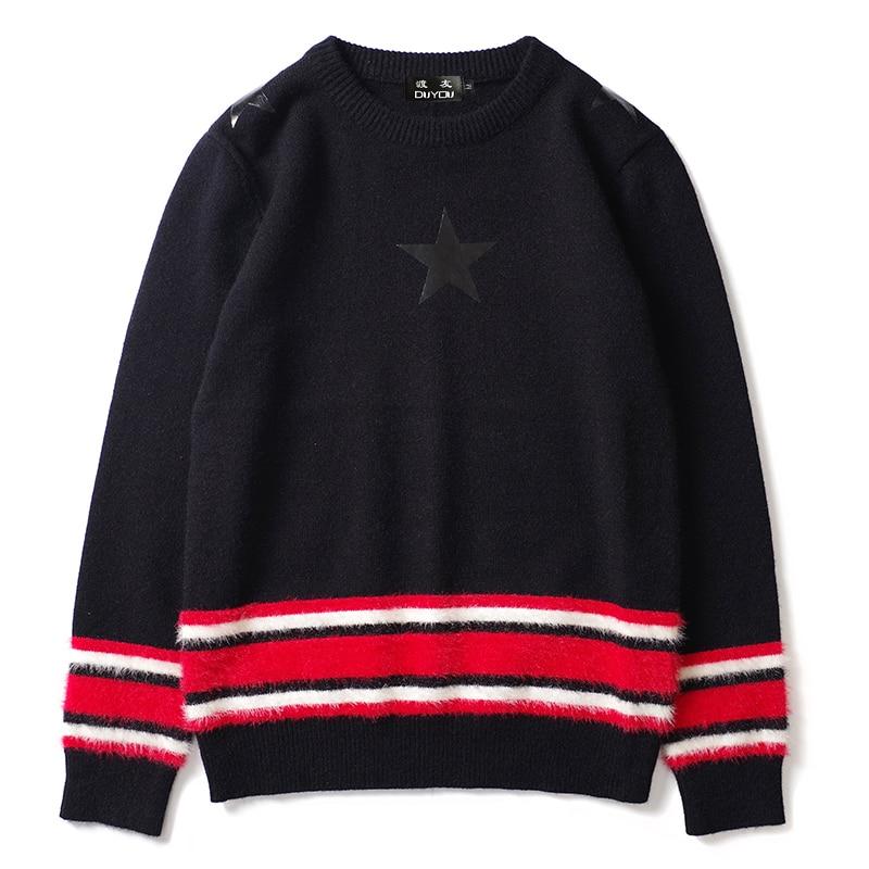 DUYOU Mens Stripe Star Print Sweaters Casual Pullover Knitted Jumper Sweater 2019 New Knitwear Sweaters Male Hip Hop Streetwear