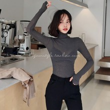 Womens Tops Tshirt Turtleneck Long-Sleeve Korean-Style Spring Sexy Cotton New