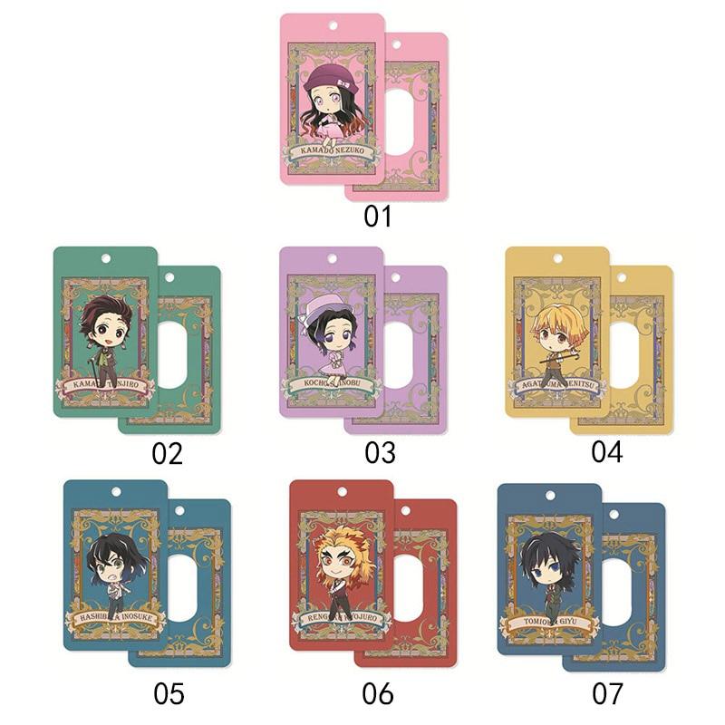 Anime Demon Slayer: Kimetsu No Yaiba Tanjirou Nezuko Acrylic Cards Holder Bus Pass Business Card Case Keychain