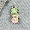 Miss Pineapple Enamel Pin Custom Bikini Fruit Brooches Bag Clothes Lapel Pin Funny Badge Holidays Summer Beach Jewelry Gift