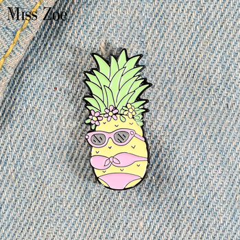 Miss Pineapple Enamel Pin Custom Bikini Fruit Brooches Bag Clothes Lapel Pin Funny Badge Holidays Summer Beach Jewelry Gift