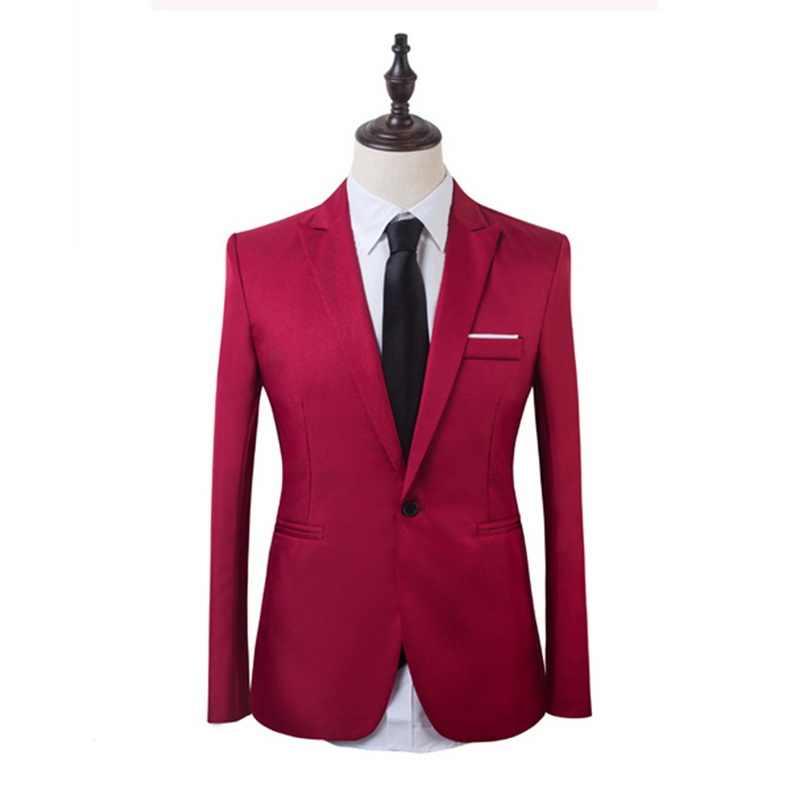 2020 2 조각 비즈니스 블레 이저 + 바지 정장 세트 남자 가을 패션 솔리드 슬림 웨딩 세트 빈티지 클래식 블레 이저